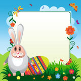 Rabbit-05. Illustration for Easter. Rabbiy with eggs for Easter with flowers Stock Image