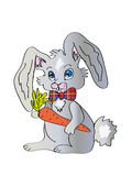Rabbit. The rabbit is drawn with carrot Stock Photography
