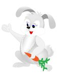 Rabbit. Gray rabbit with a carrot. Vector image Stock Images