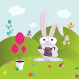 Rabbit. Easter Bunny in his garden celebrating the season Royalty Free Stock Images