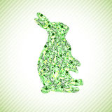 Rabbit. Abstract Floral Shape Green Easter Rabbit stock illustration