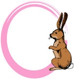 Rabbit. Illustration, vector for a rabbit with a pink border Stock Image