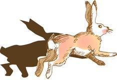 Rabbit. Illustration, vector for a jumping rabbit Stock Photos
