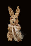Rabbit. Studio image of a straw rabbit on a black background, handcrafted in Northern Spain Royalty Free Stock Images