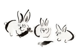 Rabbit. Hand drawn by brush and ink Stock Photography