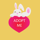 Rabbit with adopt me message. Adopt me with rabbit and heart vector Stock Image