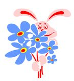 Rabbit And Blue Flowers Stock Photography