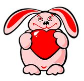 Rabbit And Heart Stock Images
