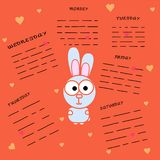 Rabbit with an area for recording on an orange background. Glider with days of the week. Cartoon rabbit with hearts royalty free illustration