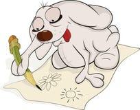 Rabbit the artist.Cartoon stock illustration