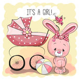 Rabbit with baby carriage Stock Images