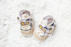 Rabbit baby shoe Stock Images