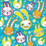 Rabbit background. Cartoon doodle seamless background with colorful bunnies. Rabbits are symbol of 2011 year, according to the Chinese calendar. This pattern can Royalty Free Stock Photos