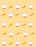 Rabbit background. Funny rabbit and carrot on a yellow background Royalty Free Stock Images