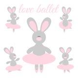 Rabbit Ballerina. Cute cartoon rabbit ballerina in a pink tutu and pointes Royalty Free Stock Photos