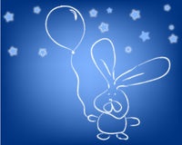 Rabbit and a ballon. Rabbit  with a ballon isolated on blue background with stars Stock Images