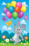 Rabbit with balloons theme image 2 Stock Image