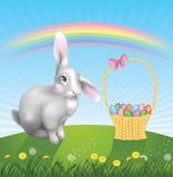 Rabbit and basket. Stock Photo