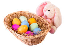 Rabbit and basket with easter eggs Royalty Free Stock Photos