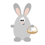 Rabbit with Basket with Eggs. Funny cartoon rabbit, who holds in his paws a basket with eggs Stock Photography