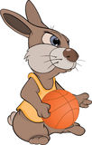 Rabbit the basketball player cartoon Stock Photography