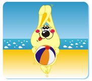 Rabbit on the beach. Vector illustration of rabbit with the ball on the beach Stock Photo