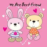 Rabbit and bear are best friend. Cute rabbit and bear cartoon are best friend royalty free illustration
