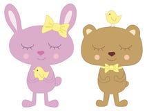 Rabbit, bear and bird Royalty Free Stock Photo