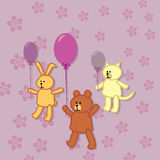 Rabbit, bear and kitty walks with balloons Royalty Free Stock Images