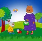 Rabbit, Bear and Ladybug Royalty Free Stock Images