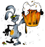 Rabbit and beer. Cartoon illustration of smiling rabbit with a beer Royalty Free Stock Photo