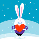 Rabbit with big heart Royalty Free Stock Images