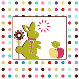 Rabbit with Bird. Adorabe rabbid and bird with poka dot background pattern Stock Photos