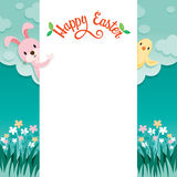 Rabbit, Bird And Nature Background Frame With Happy Easter. Easter Spring Season Animal Nature Decorating Objects Festive Celebrations Royalty Free Stock Images