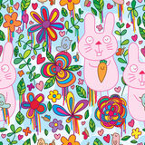 Rabbit bird wild flower color seamless pattern stock illustration