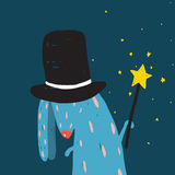 Rabbit in Black Hat Doing Tricks with Magic Wand Royalty Free Stock Photos