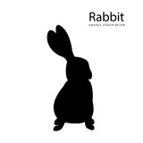 Rabbit black vector silhouette isolated illustration. Hand drawing vintage animal setr Stock Photo