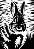 Rabbit. Black and white rabbit linocut print illustration Stock Images