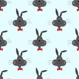 Rabbit on a blue background vector illustration seamless pattern Royalty Free Stock Images