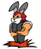 Rabbit Bodyguard with Arms Crossed Cartoon Royalty Free Stock Images