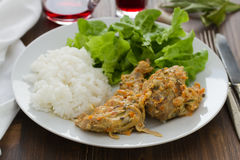 Rabbit with boiled rice and lettuce Stock Photo