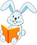 Rabbit with book. A rabbit smiling and reading book stock illustration