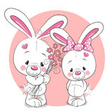 Rabbit boy and girl. Two White cartoon Rabbits boy and girl Royalty Free Stock Images