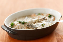 Rabbit braised in cream sauce Royalty Free Stock Images