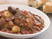 Rabbit Bread Chorizo Stew with Button Onions Royalty Free Stock Image