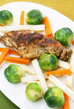 Rabbit with Brussels sprouts Stock Image