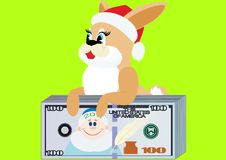 Rabbit with a bundle of money Stock Photo