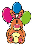 Rabbit. Bunny with balloons on a white background stock illustration