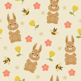 Rabbit/bunny and bumble bee seamless pattern. Rabbit/bunny and bumble bee. Vector floral seamless pattern Stock Photography