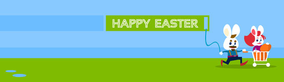 Rabbit Bunny Couple Colorful Eggs Happy Easter Holiday Banner Greeting Card Royalty Free Stock Photography